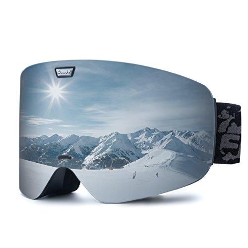 Ommda Skibrille Mit Double Zylindrische Linse OTG Anti-Kratzer und Anti-Nebel UV400 Schutz Ski Goggles Snowboardbrille Schneebrille Sportbrille für Herren Damen Silber -