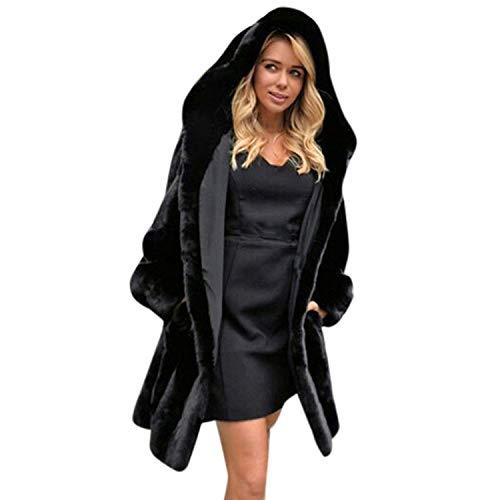 Mantello con cappuccio donna eleganti lunga pelliccia sintetica giacche giaccone invernali festa style tempo libero sciolto fashion vintage termico calda giacca di pelliccia outerwear nero ragazze