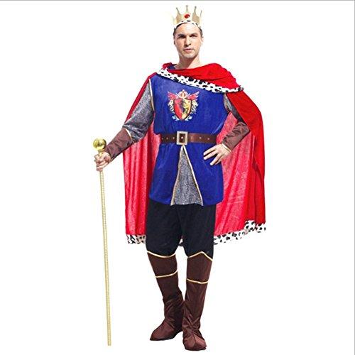 Bainuojia Königsmantel mit Krone Königsumhang mit Kopfschmuck König Robe Prinz Kostüm Gewand Prinzenkostüm Mantel Renaissance Märchenprinz Herrscher Umhang