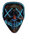 SOUTHSKY LED Maschera Black Skull Full Face Maschera El Wire Light Up for Halloween Costume Cosplay Party (X-Blue)