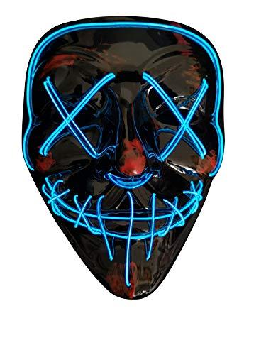 Schädel Halloween Kostüm - SOUTHSKY LED Maske Schwarz Schädel Vollmaske EL Draht Leuchten Für Halloween Kostüm Cosplay Party(X-Blue)