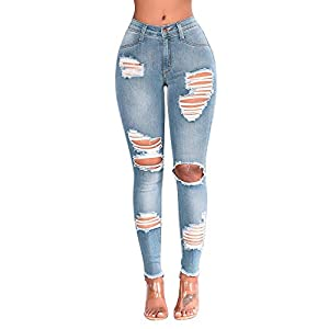 Luckygirls Pantalones Mujer Vaqueros De Rotos Negro Cintura Alta Originals Casual Pantalon Moda Slim Skinny Legging Elasticos Jeans Pantalones