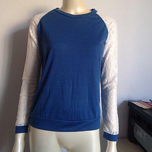 ... Oberteile Damen Elegant Blusen Tops Casual Langarm Sommerbluse  Langarmshirts Hemd Lässige Blau ...