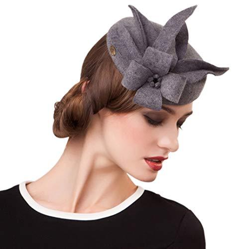 TOBEEY Frauen Fascinator Wolle British Barette Floral Vintage Hüte Hochzeit Fedora Pillbox Hüte