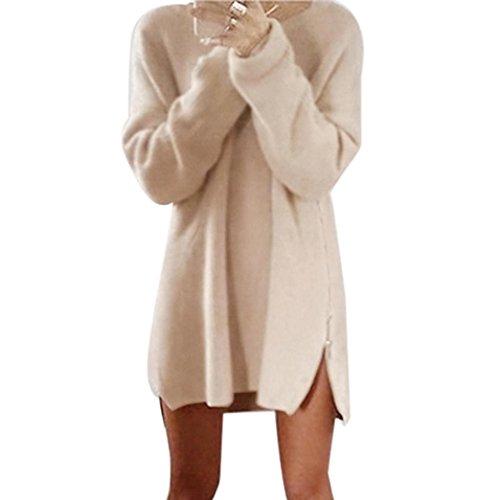Pullover damen,Sonnena Strickpullover Langarmshirt Strickkleid Lose Oberteile Tops Stricken Cardigan Outwear Mantel mit Reißverschluss seitlich (Asian XL, Khaki) (Cashmere Strickkleid)