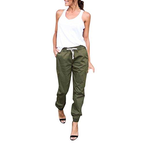 Pantalones para Mujer,Koly Moda Vaqueros Mujer Cintura Alta Largos Elegantes Vendaje Oficina Leggings Trousers Jogging Deportivos Medias Polainas Elástico Outdoor Pantalón Pants (Ejercito Verde, L)