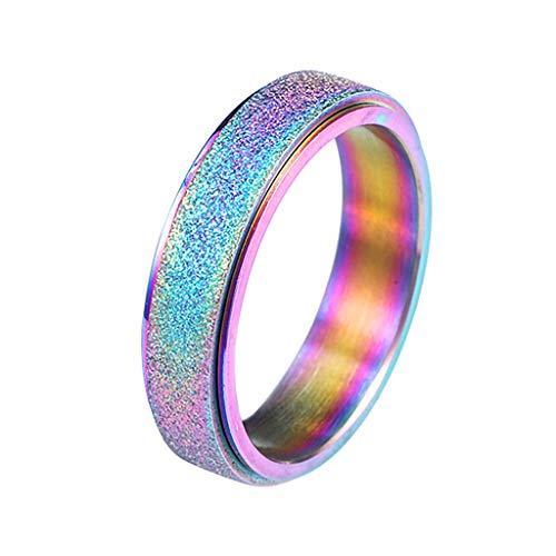 Alwayswin Ring Damen Edelstahl Ring Frauen Spinner Ring Sand Blast Finish Ring Comfort Einfach Ring Diamanten Rose Gold Ring Modeschmuck Geschenk Damenring Schmuck - Blast Bekleidung
