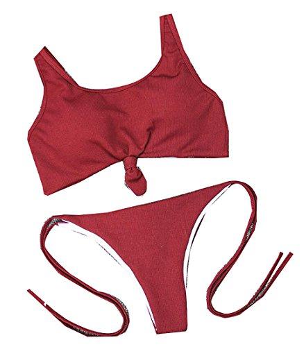 d3ceb8b6d4 EKU FASHION - Maillot de bain deux pièces - Femme Small - rouge - Medium