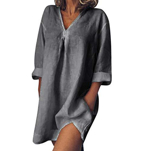Leinenkleider Damen Dasongff Tief V-Ausschnitt Leinen Tshirt Kleid Vintage Baggy Minikleid...