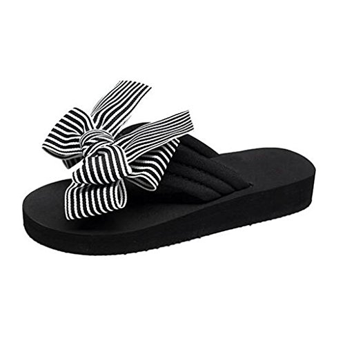 MUMA Pumps Hausschuhe Sand Strand Schuhe weibliche Sommer Bogen Flip-Flops im Freien dicken Boden Hausschuhe und Hausschuhe flache Unterseite Anti-Rutsch (Farbe : Schwarz, größe : EU38/UK5.5/CN38)