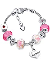Big Sis Shiny Crystal Charm Bracelet Bangle Jewelry Wristband with Gift Box Set for Sister Girl Lady (Pink White Glitter)
