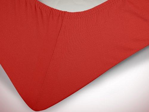 npluseins klassisches Jersey Spannbetttuch - erhältlich in 34 modernen Farben und 6 verschiedenen Größen - 100% Baumwolle, 90-100 x 200 cm, rot - 6