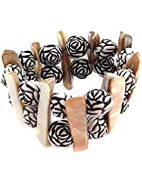 The Jewelbox Mother Of Pearl Black White Designer Beads Bracelet Strand For Women