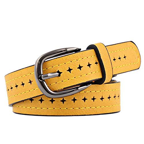DaoRier Damen Gürtel Sternform-Loch Schnalle Dünner Gürtel Frauen Gürtel Taille Lederband (Gelb)