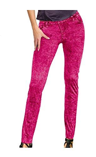 Leggins neon pink Jeansmuster Neonhose Neon Nights Holi 80er 90er Strumpfhose