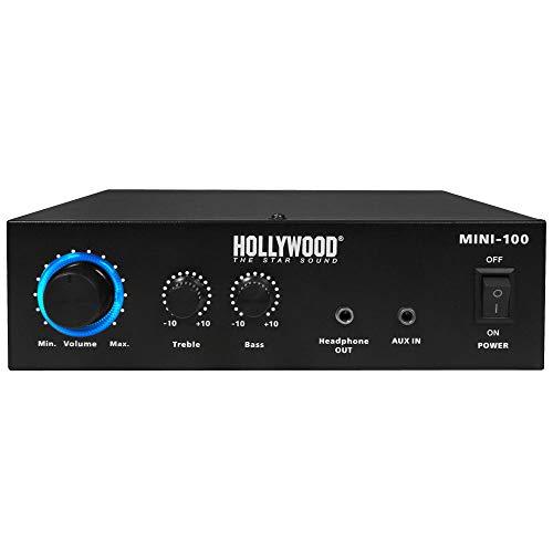 Hollywood 100 Watt DJ PA Kompakt Verstärker Party Musik-Equipment Endstufe AUX Anlage Mini 100