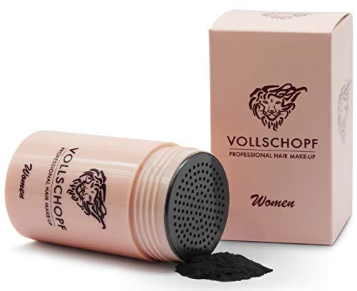 Vollschopf Schütthaar speziell für Frauen - Streuhaar bei weiblichem Haarausfall - Hair Fibers für dünnes Frauen-Haar - Haar-Pulver Farbe Schwarz -