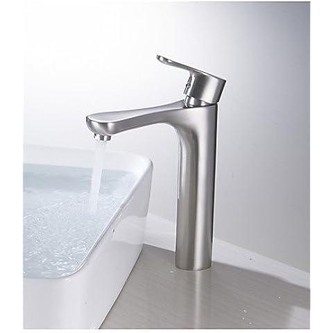 XMQC*Rubinetto bagno lavandino singolo recipiente leva maniglia Rubinetto miscelatore, nichel spazzolato per wc rubinetti di altezza scocca , 48 x 8 cm