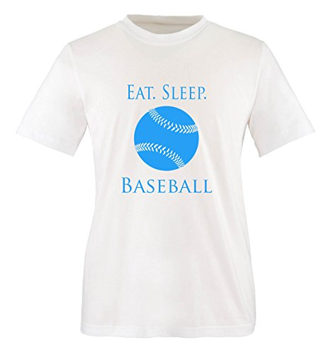 Comedy Shirts - EAT. SLEEP. BASEBALL - BALL - Jungen T-Shirt - Weiss / Blau Gr. 152-164 (Ringspun-baseball-t-shirt)