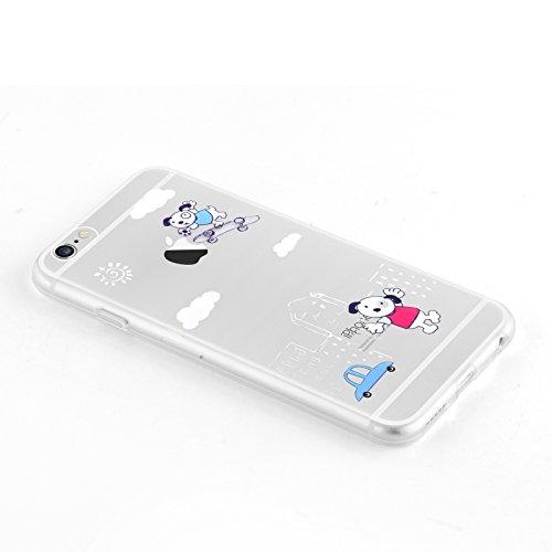 """iPhone 6 Hülle, JAMMYLIZARD Transparentes Sketch Back Cover aus Silikon mit Muster für iPhone 6 / 6s 4.7"""", KRATZENDE KATZE Wolke"""