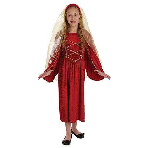 Tudor Kostüm Childs - Fun Shack FNK3745S Kostüm, Girls, Tudor Princess Red, Größe S