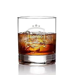 Idea Regalo - AMAVEL Bicchiere con Incisione - Il Miglior Nonno del Mondo - Blasone - Tumbler Basso - Bicchieri Whisky in Vetro - Idee Regalo per Lui - Regali Festa del papà - capacità: 320 ml