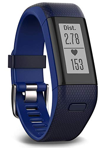 Garmin vívosmart HR+ Fitness-Tracker - GPS-fähig, Herzfrequenzmessung am Handgelenk, Smart Notifications, Blue, M - L, 010-01955-32