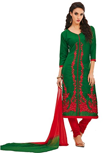 Oomph! Women's Unstitched Salwar Suit/Dress Material/Embroidered Cotton Dress Material, Green