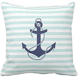 Anchor - Funda de almohada náutica con diseño de rayas blancas y azul marino con ancla y funda de almohada de algodón y lino, funda de cojín cuadrada decorativa para el hogar, sofá, dormitorio, salón, 45,7 x 45,7 cm