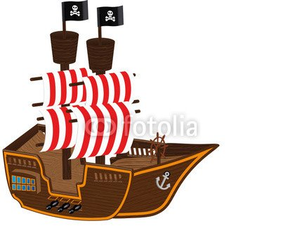 "Poster-Bild 80 x 70 cm: ""Pirat Piratenschiff Schiff Comic Cartoon Illustration"", Bild auf Poster"