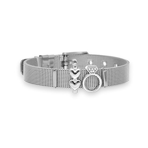 URBANHELDEN - Mesharmband - HAPPILY EVER AFTER - aus Edelstahl - Mesh Charm Armband - Charms austauschbar - Größen verstellbar - Damenarmband Charmband - HAPPILY EVER AFTER (Silber, Rosegold o. Gold)