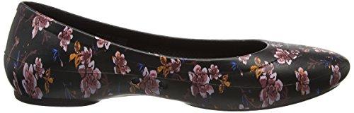 Crocs Linagraphicflat, Ballerine Donna Nero (Black/floral)