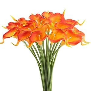 HUAESIN 20Pcs Flores Artificiales Naranja Flores de Plastico Lirios Artificiales Latex Ramilletes Flores Artificiales Cala Tacto Real Planta Artificiales Exterior e Interior para Boda Hogar Fiesta