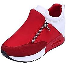 Botas, Manadlian Zapatillas de deporte de mujer Deportes Correr Senderismo Zapatos de plataforma de fondo grueso (EU:36, Rojo)