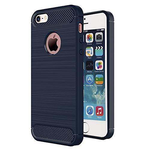 MTRONX für iPhone 5s Hülle, iPhone 5 Hülle, iPhone SE Hülle, Gebürstete Kohlefaser-Optik Stoßfest Anti-Kratzer Schlanke Weiche TPU Silikon Rückseite Handyhülle Schutzhülle Etui -Blau(SB-BU) 5 Silikon Silicon Case