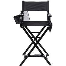 niceao profesional Silla de director plegable plegable director Chair Reproductor de ceras para la tapizadas Make Up Chair Madera con bolsillos laterales para Studio, de maquillaje de Artists, Director De Las películas, etc.