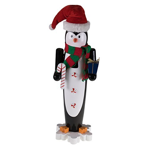 """Clever Creations - Nussknacker Pinguin - mit gestreiftem Strickschal & Weihnachtsmütze - Deko für Weihnachten & Winter - perfekt für Regale und Tische - Sammlerstück - 100% Holz - 15"""" (38,1 cm)"""