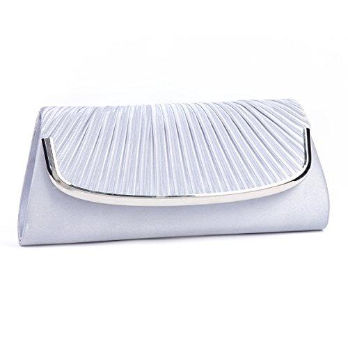 Damara Große Faltenwurf Damen Handtaschen,Weiß Silber