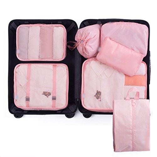 Ysddian- Reise Aufbewahrungstasche Gepäck Kleidung Reise wesentliche Schuhe Unterwäsche Aufbewahrungstasche Finishing Box tragbaren Satz (Farbe : Pink)