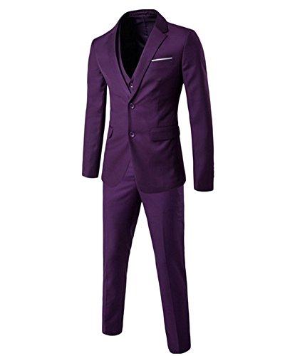 Uomo Adattata Degli 3 Tuta per il partito di nozze Blazer, gilet, pantaloni Viola