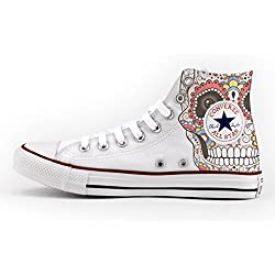Converse Personalizados e impresos - zapatos de artesanía new mexican skull
