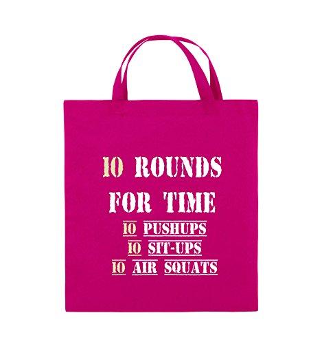 Comedy Bags - 10 Rounds for time 10 pushups 10 sit ups 10 air squats - Jutebeutel - kurze Henkel - 38x42cm - Farbe: Schwarz / Weiss-Neongrün Pink / Rosa-Weiss-Beige