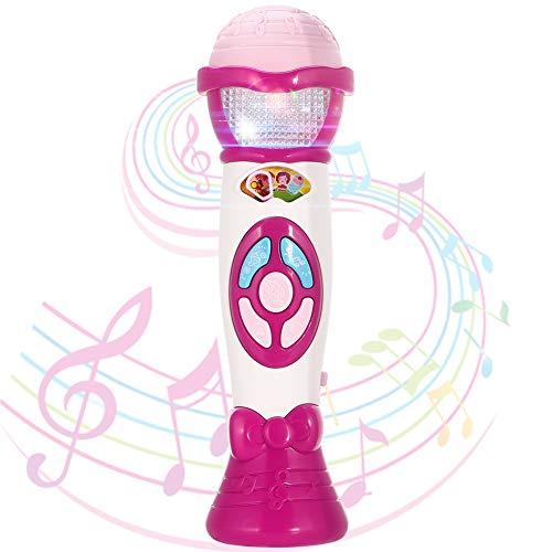 Twister.CK Kids Voice Changer Mikrofon Spielzeug Karaoke-Maschine Kleinkind Aufnahme, Play Music Function, Bunte Lichter, Party Favor Toy Große Geburtstag Mädchen Jungen, Pink