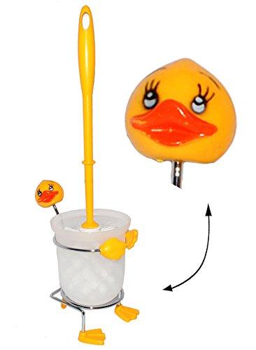 WC Bürstenhalter -  lustige Ente  - ohne Bohren / stehend - Halter Bad - Stand Bürstengarnitur - Ständer Badezimmer - Toilettenhalter Tiere - Deko - Toilett..