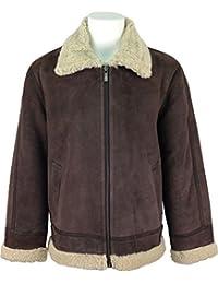 UNICORN Hommes haute qualité de peau de mouton veste volant Brun avec fourrure de crème 'Air force' en cuir de aviateur manteau #H7