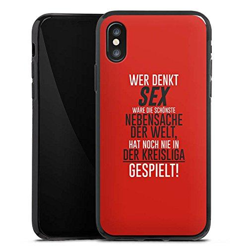 Apple iPhone X Silikon Hülle Case Schutzhülle Kreisliga Sex Fußball Silikon Case schwarz