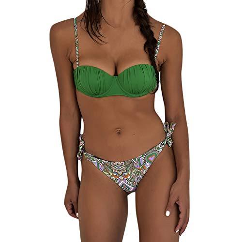 ae1014d23985f WUDUBE Maillots de Bain ❤ Femme Deux pièces Halter Bandage Push Up Bikini  Floral Print Femme