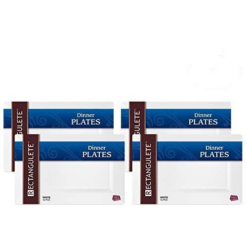 rectangulete 34,3cm Rechteck weiß Speisetellern, Einweg, Hartplastik, elegante Party Teller. 10Party Abendessen Teller Pro Paket