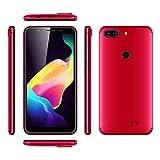 5 Zoll HD IPS Display Smartphones,3G Android 7.0 Billige Handys (Dual Sim, MT6580m Prozessor Smartphones, 1GB RAM + 8GB ROM, 5.0MP +5.0MP Dual Kamera,2800 mAh Akku) (Rot)