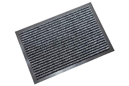atumboso Fußmatte Innen & Außen | Schmutzfangmatte 40 x 60 cm | Sauberlaufmatte Grau gestreift | Türmatte | Fußabtreter | Premium